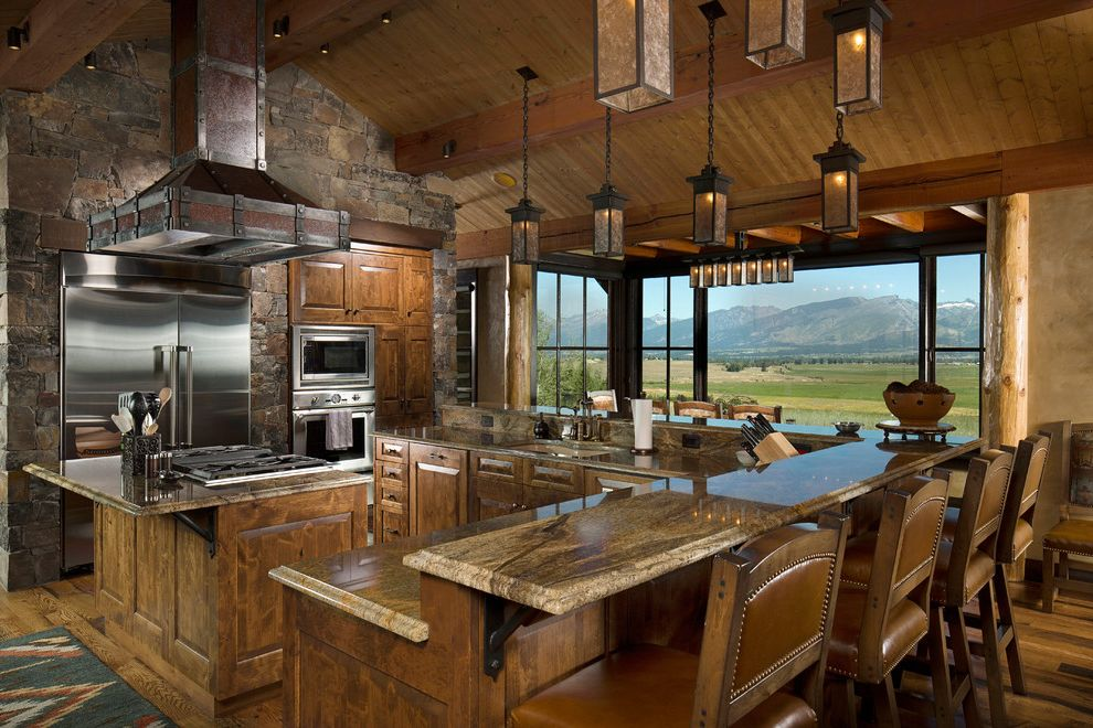 Smoky Mountain Granite   Rustic Kitchen  and Island Island Stove Top L Shaped Island Leather Mountain View Pendant Lights Stone Wall Timber Frame Builders Timber Frame Design Timberframe Timberframe Design