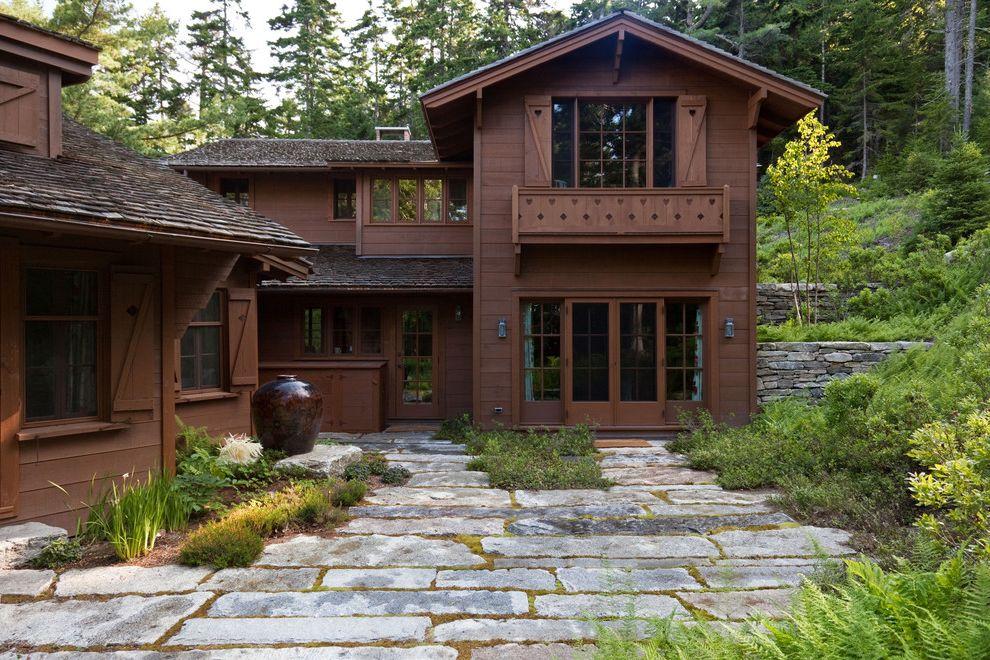 Smoky Mountain Granite   Rustic Landscape Also Dark Wood Exterior Native Plants Planters Stone Stone Pavers Wood