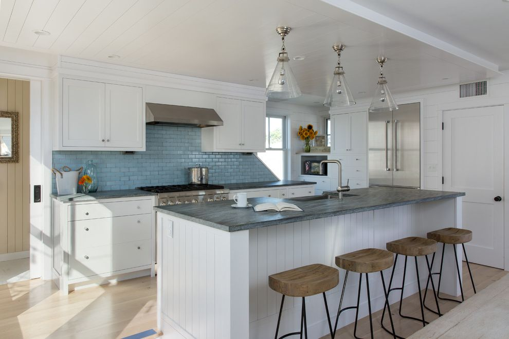 Smoky Mountain Granite with Beach Style Kitchen  and Addition Beach Cottage Coastal Cottage Coastal Home Cottage New England Renovation Shingle Siding