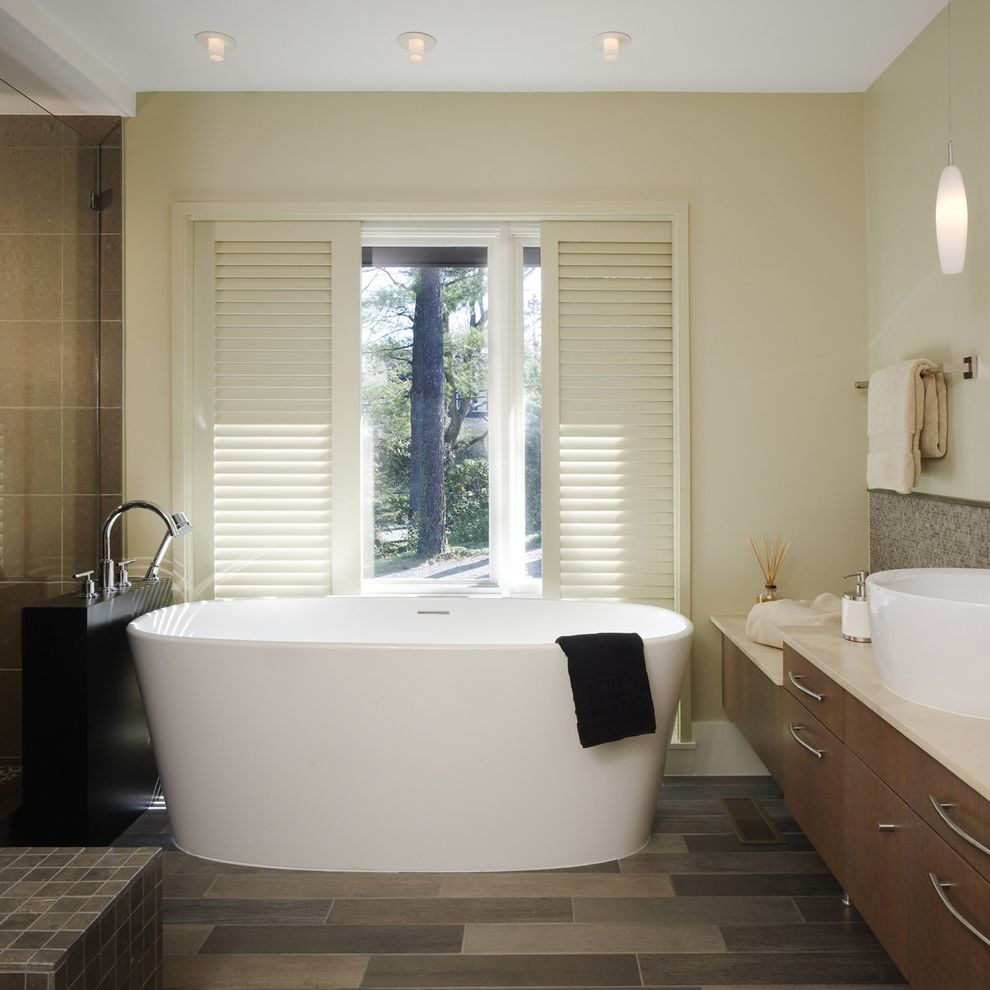 Soaker Tub Faucet with Contemporary Bathroom and Bath Bowl Sink Elegant Free Standing Tub Modern Bath Modern Tub Shutters Soaker Bath Soaker Tub Tiled Floor Tub Vanity Window Over Tub Wood Vanity