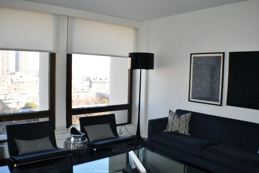 Society Hill Towers   Contemporary Living Room  and Light Blocking Modern Den Modern Interior Modern Living Room Philadelphia Roller Shades Rosen Interiors Window Treatments