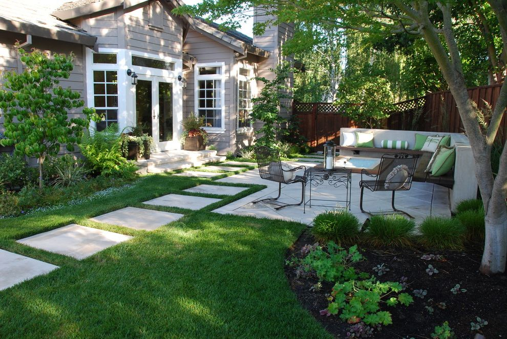 Sod for Shade   Traditional Landscape  and Bench Seating Concrete Contemporary Decorative Pillows Fire Pit French Doors Garden Glass Lawn Mass Planting Path Patio Patio Furniture Patio Pavers Sconces Siding Stepping Stones White Trim Wood Fence