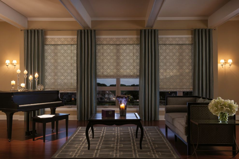 Sod for Shade   Traditional Living Room Also Curtains Drapery Drapes Fabric Shades Geometric Print Fabric Grommet Top Drapery Panels High End Curtain Drape Roman Shade with Self Valance Roman Shades Shades Shutter Valance Valances Window Treatments
