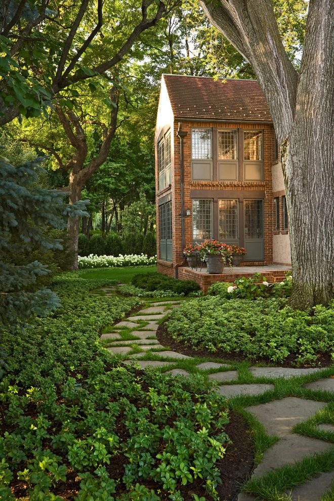 Sod for Shade with Traditional Landscape  and Brick House Brick Wall Estate Mass Plantings Path Patio Pavers Permeable Planter Steps Tudor Walkway