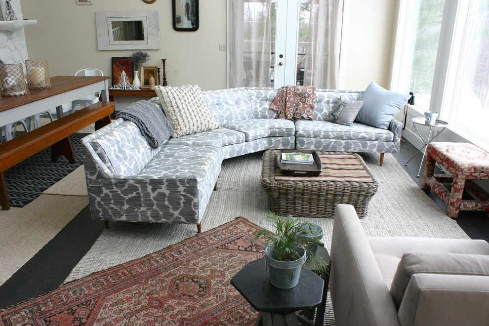 Sofa Sectionals on Sale with Eclectic Living Room  and Basket Eclectic Gray Sofa Oriental Rug Printed Sofa Sectional Sofa Wicker