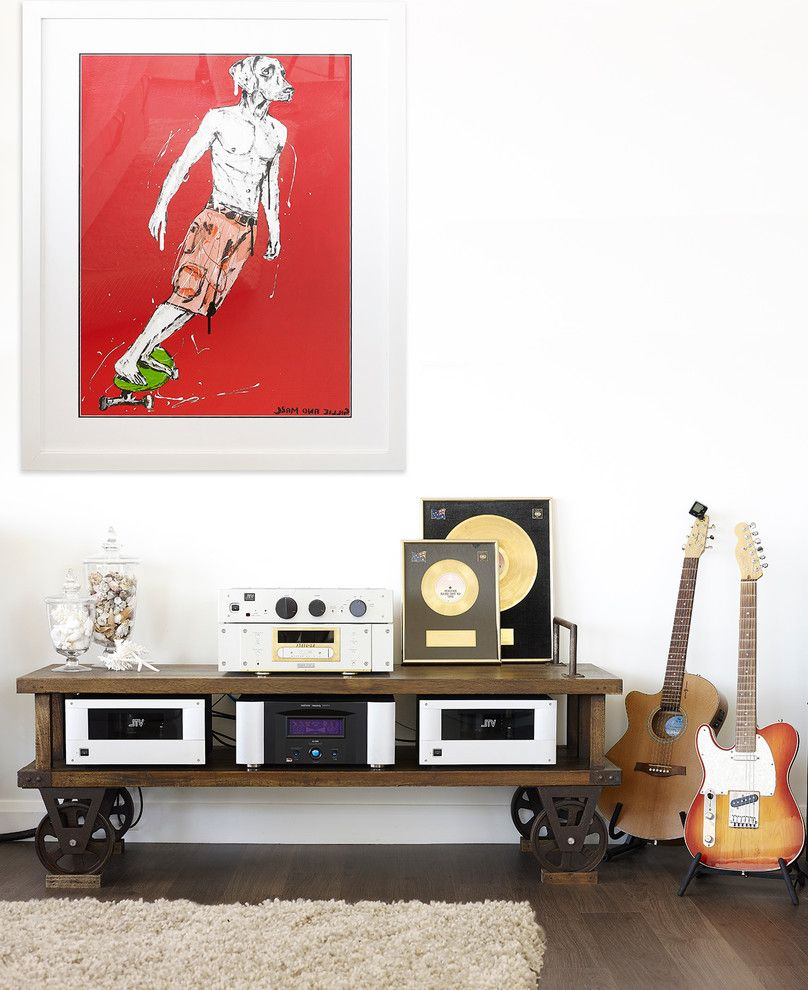 Sonoma Music Festival   Contemporary Living Room Also Antique Furniture Beachfront Cart Coffee Table Contemporary Artwork Gold Records Guitars Rustic Furniture Timber Storage Trolley