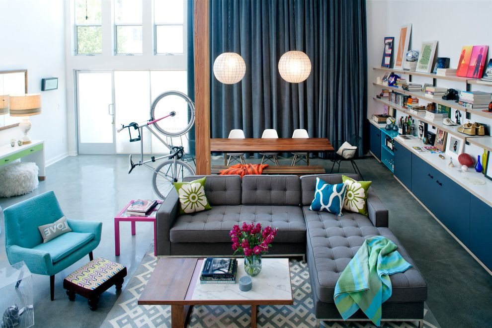 Sound Blocking Curtains with Eclectic Living Room  and Bicycle Blue Chair Blue Curtain Coffee Table Drapery Eclectic Gray Couch Lighting Living Room Open Floor Plan Sofa Tufted Couch