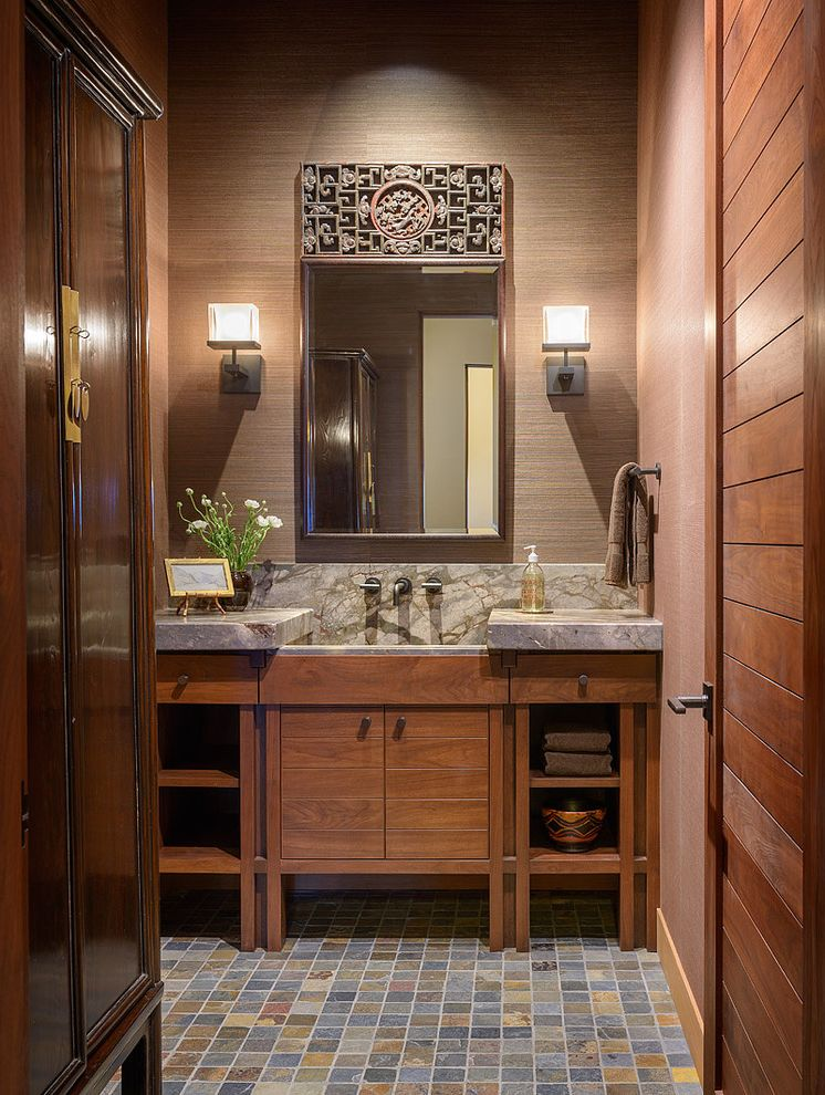 Southeastern Salvage Chattanooga   Contemporary Bathroom  and Brown Countertop Brown Grass Cloth Marble Countertop Multicolored Tile Floor Ornate Bathroom Mirror Trough Sink Wall Sconce Wood Bathroom Door Wood Bathroom Vanity