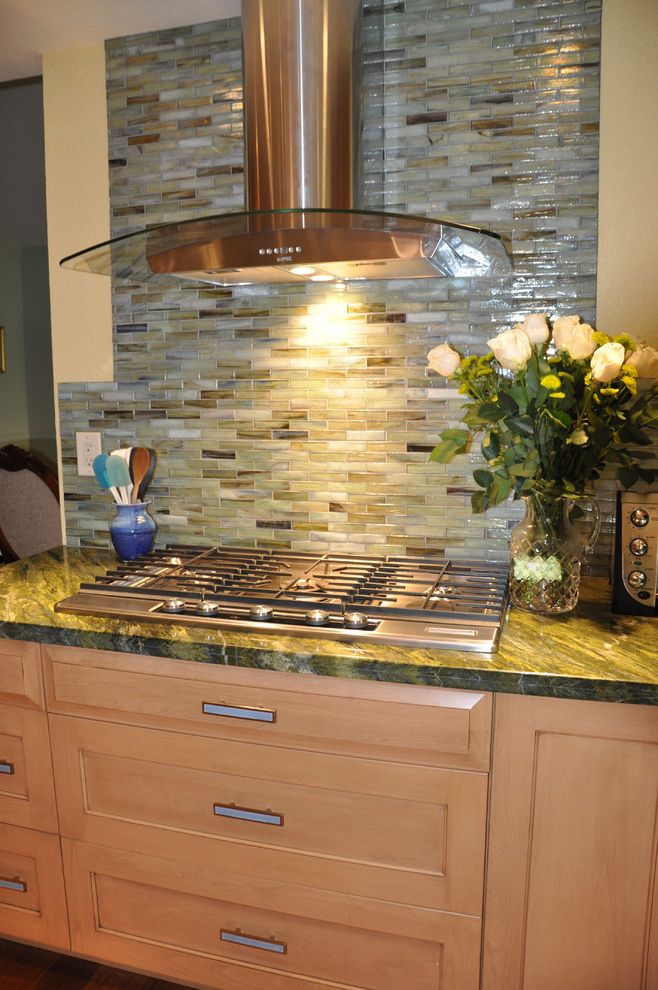 Southeastern Salvage Chattanooga   Contemporary Kitchen Also Bullet Tiles Drawer Pulls Green Countertops Kitchen Hardware Range Hood Slab Countertops Stone Countertops Tile Backsplash Wall Tile Design Wood Cabinets