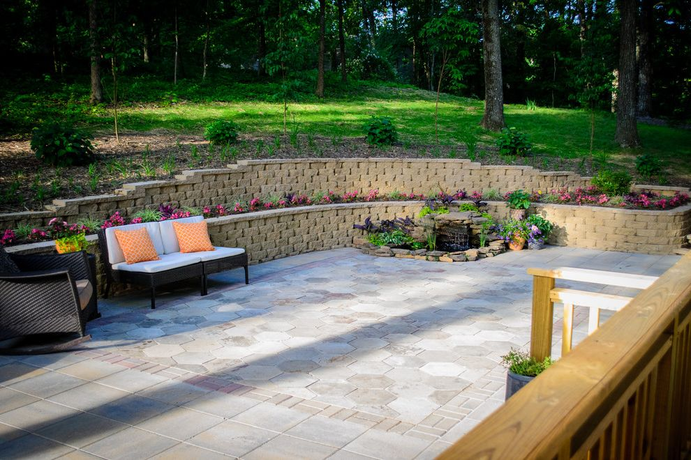 Southeastern Salvage Chattanooga with Traditional Patio  and Patio Pavers Retaining Walls Water Feature Waterfall