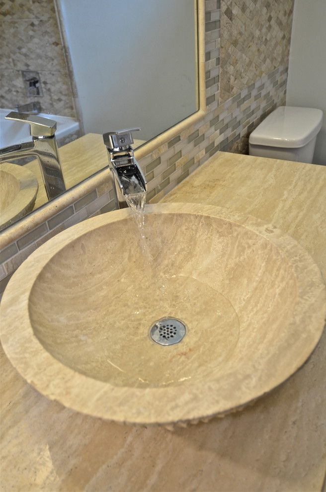 Southeastern Salvage Chattanooga with Transitional Bathroom Also Travertine Vessel Sink
