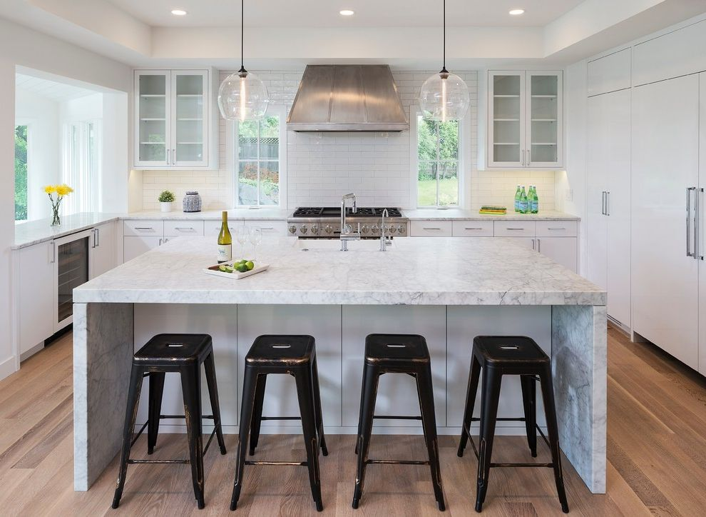 Southern Lights Mn   Contemporary Kitchen  and Casual Elegance Classic Glass Pendant Lights Metal Counter Stools Range Stainless Steel Vent Hood Tray Ceiling White Kitchen Windows