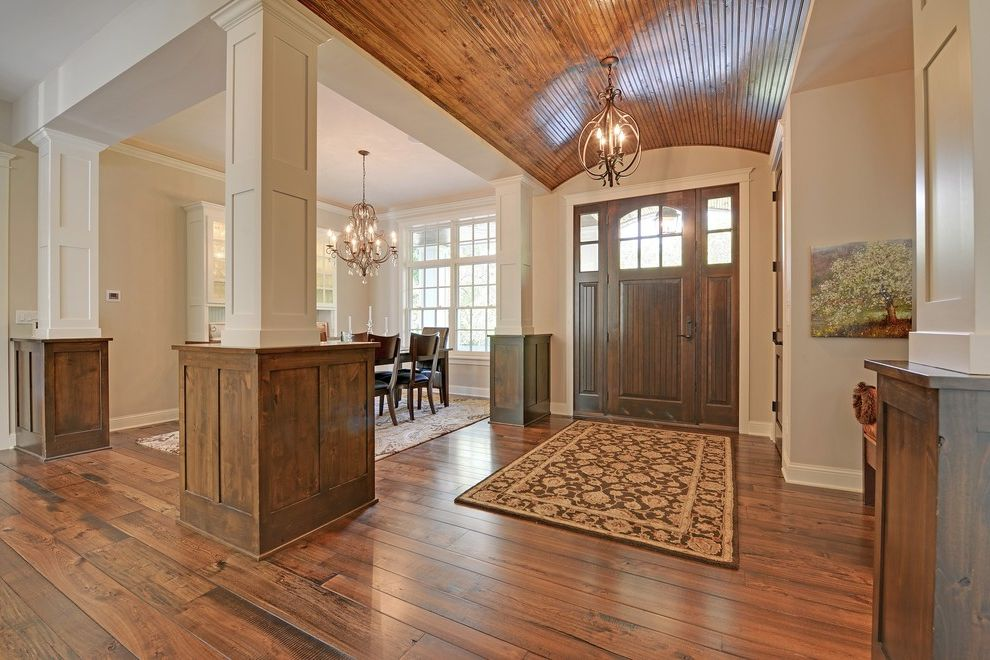 Southern Lights Mn with Traditional Entry Also Area Rug Barrel Vault Ceiling Beadboard Beige Chandelier Dining Table Entry Rug Stained Wood White Painted Wood Wood Ceiling Wood Floor