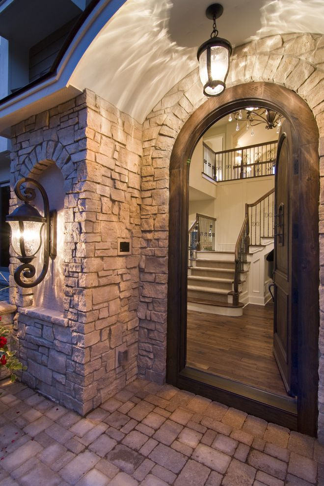 Southern Lights Mn with Traditional Entry  and Archway Front Door Lanterns Outdoor Lighting Pavers Stone Paving Stone Wall