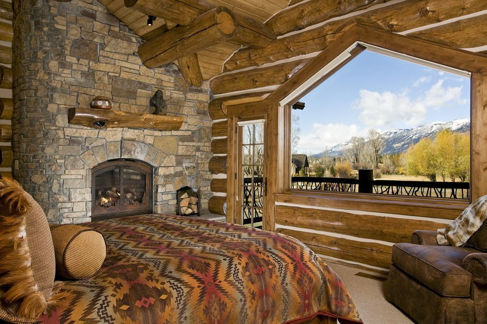 Southwest Bedspreads   Rustic Bedroom Also Fireplace Jackson Hole Leather Arm Chair Log Construction Log Mantel Logs Mountain Mountain View Native American Print Stone