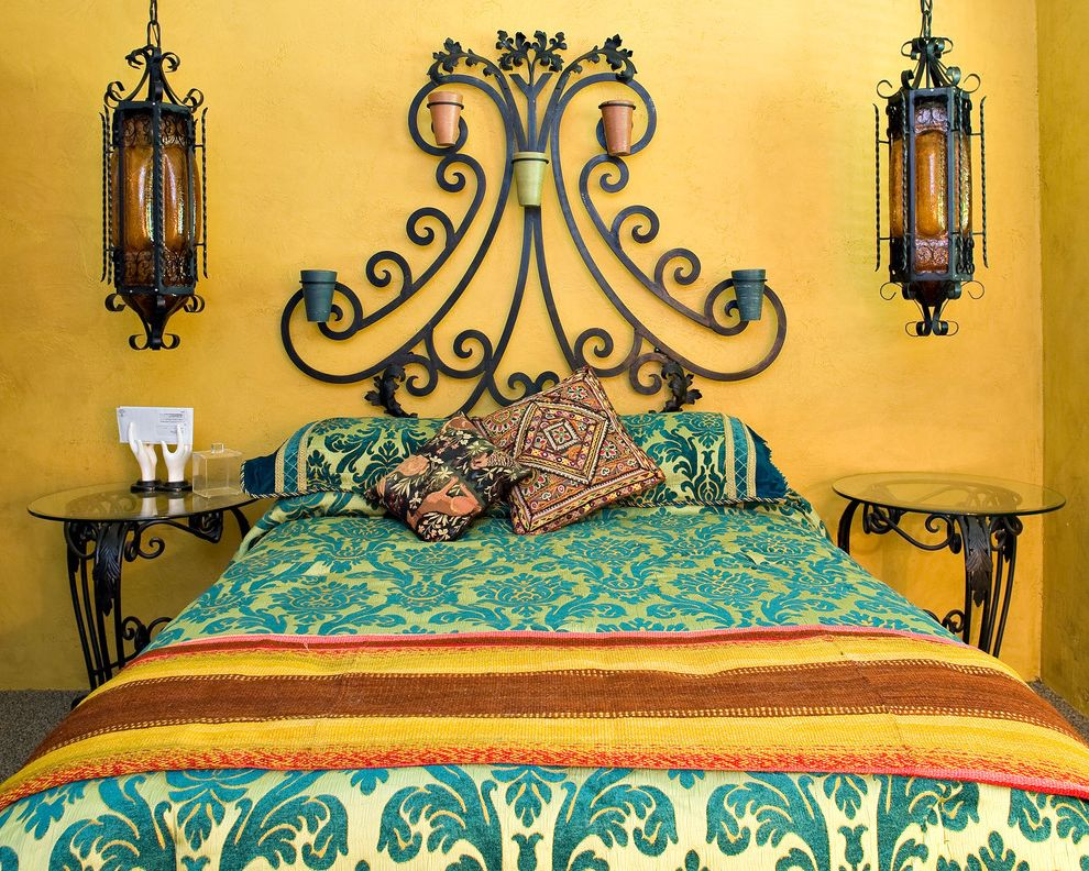 Southwest Bedspreads with Eclectic Bedroom  and Bed Bed Frame Colorful Custom Deep Colors Lamps Metal Southwest Wrought Iron Bed Yellow