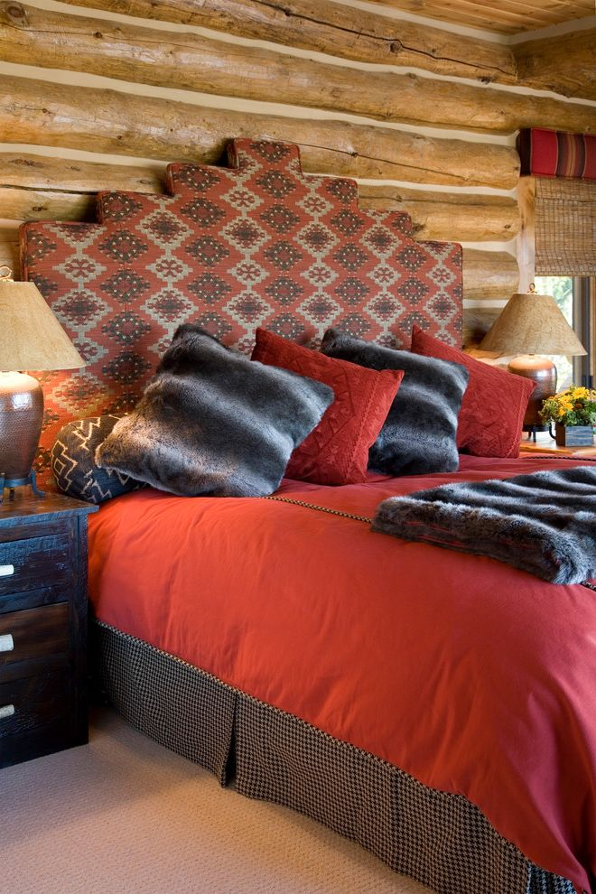 Southwest Bedspreads with Rustic Bedroom  and Bed Pillows Bedside Table Bedskirt Decorative Pillows Faux Fur Throw Log Cabin Nightstand Red Bedding Rustic Throw Pillows Upholstered Headboard