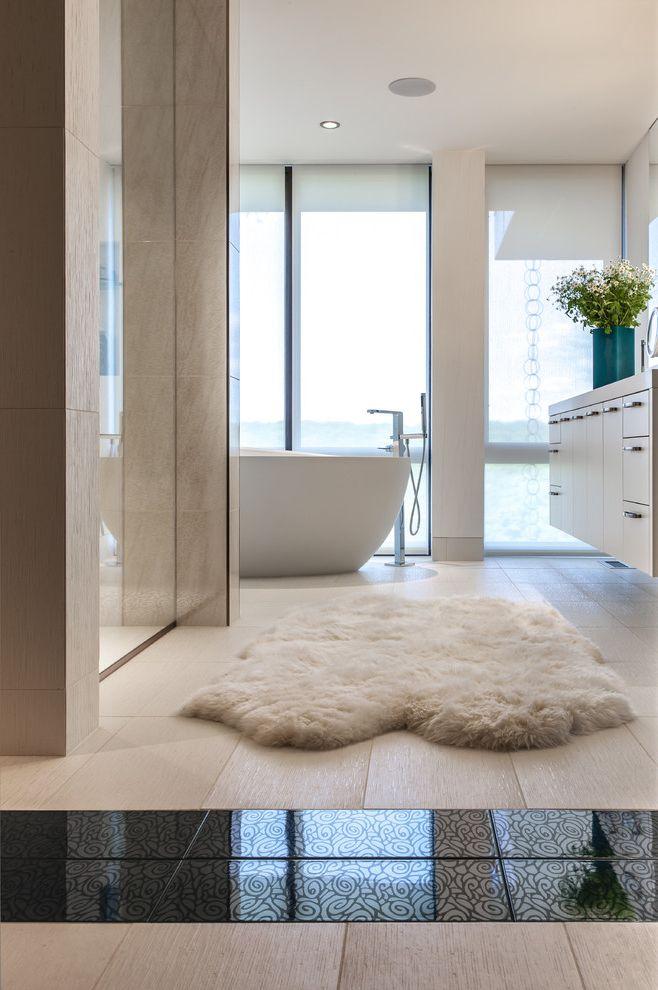 Southwestern Bathroom Rugs   Contemporary Bathroom  and Accent Tile Bath Black and White Tile Egg Shaped Tub Elegant Floating Vanity Freestanding Faucet Freestanding Tub Large Window Sophisticated Tiled Floor Tub Vanity White