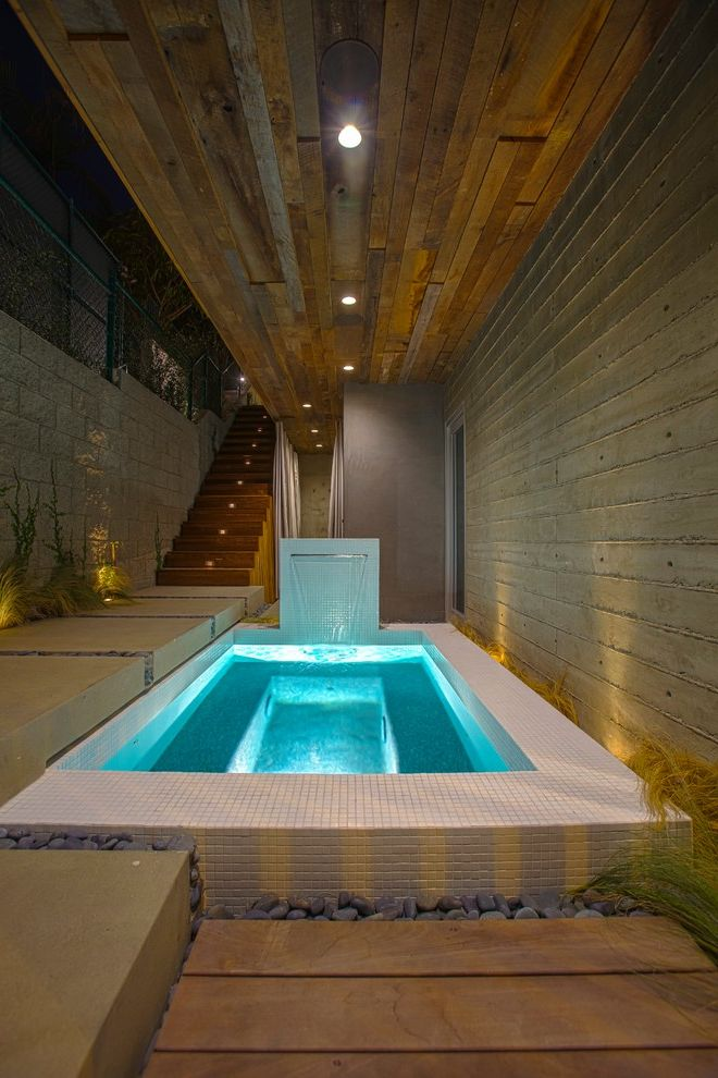 Spa at River Ridge   Contemporary Pool Also Landscaping Mosaic Tile Night Lighting Outdoor Lighting Pool Lighting Recessed Lighting River Rocks Tile Pool Uplighting Water Feature Waterfall Wood Ceiling Wood Stairs