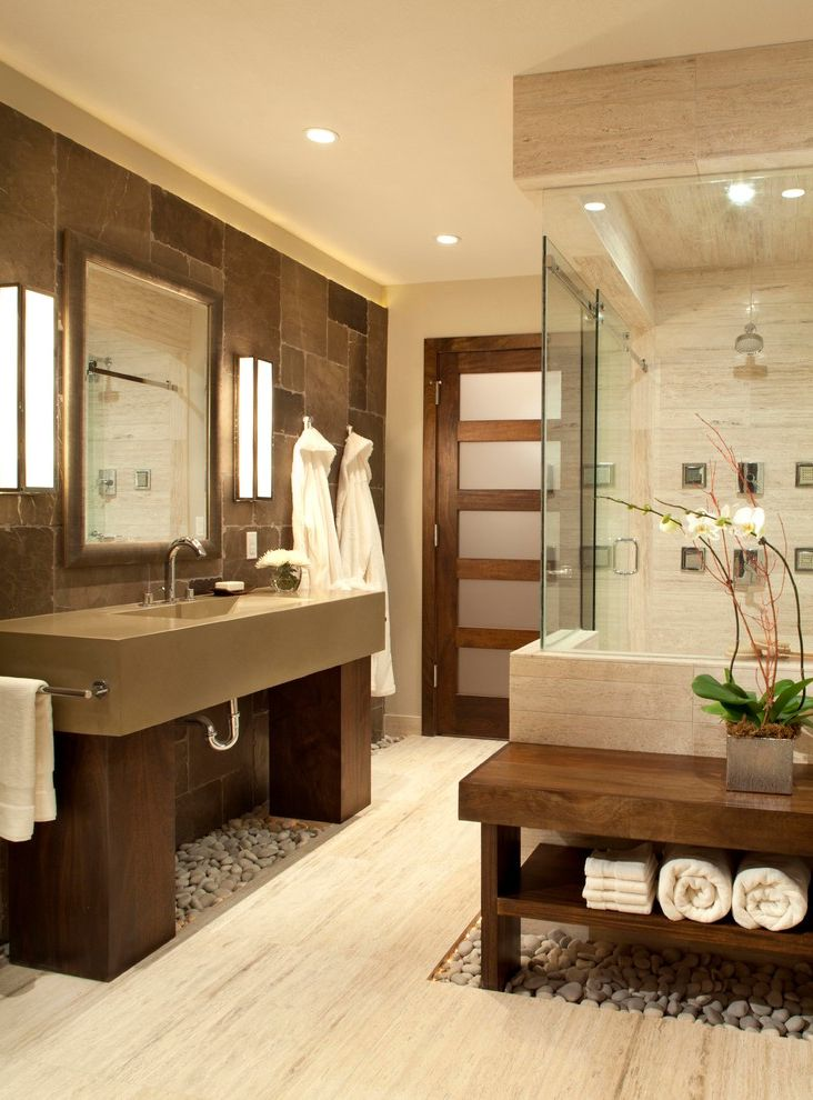 Spa at River Ridge with Contemporary Bathroom Also Glass Shower Grey Counter Open Bathroom Orchid Pebbles Recessed Lighting Stone Wall