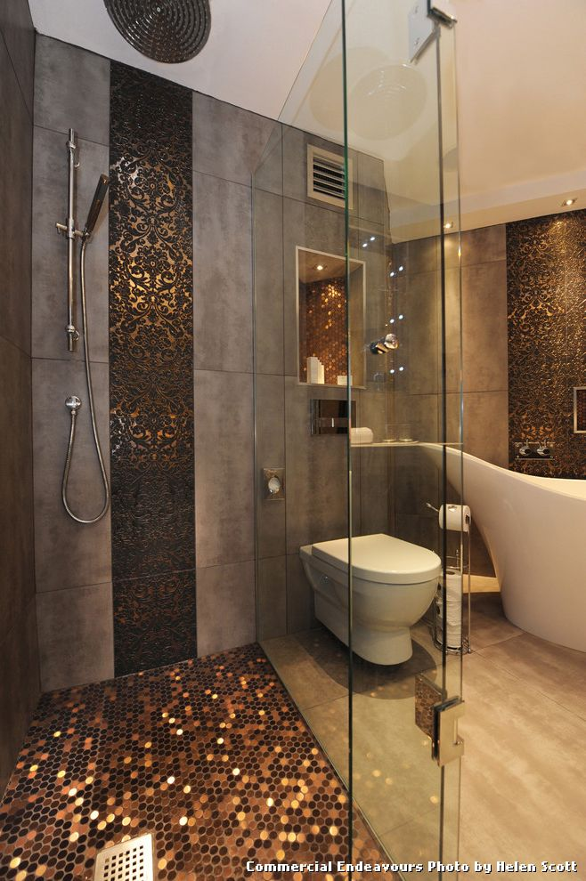 Sparkle Floor Tiles with Contemporary Bathroom and Accent Tiles ...