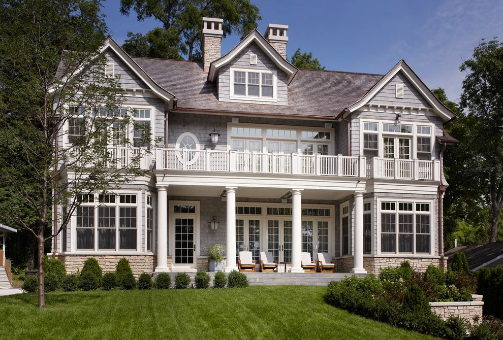 Spas in Lake Geneva Wi   Traditional Exterior Also Balcony Columns Gable Dormer Gray Shingle Oculus Window Transom Windows