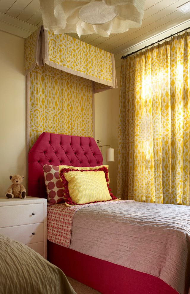 Spas in Lake Geneva Wi   Transitional Kids Also Canopy Bed Pink Headboard Tufted Headboard Twin Bed Yellow Curtains