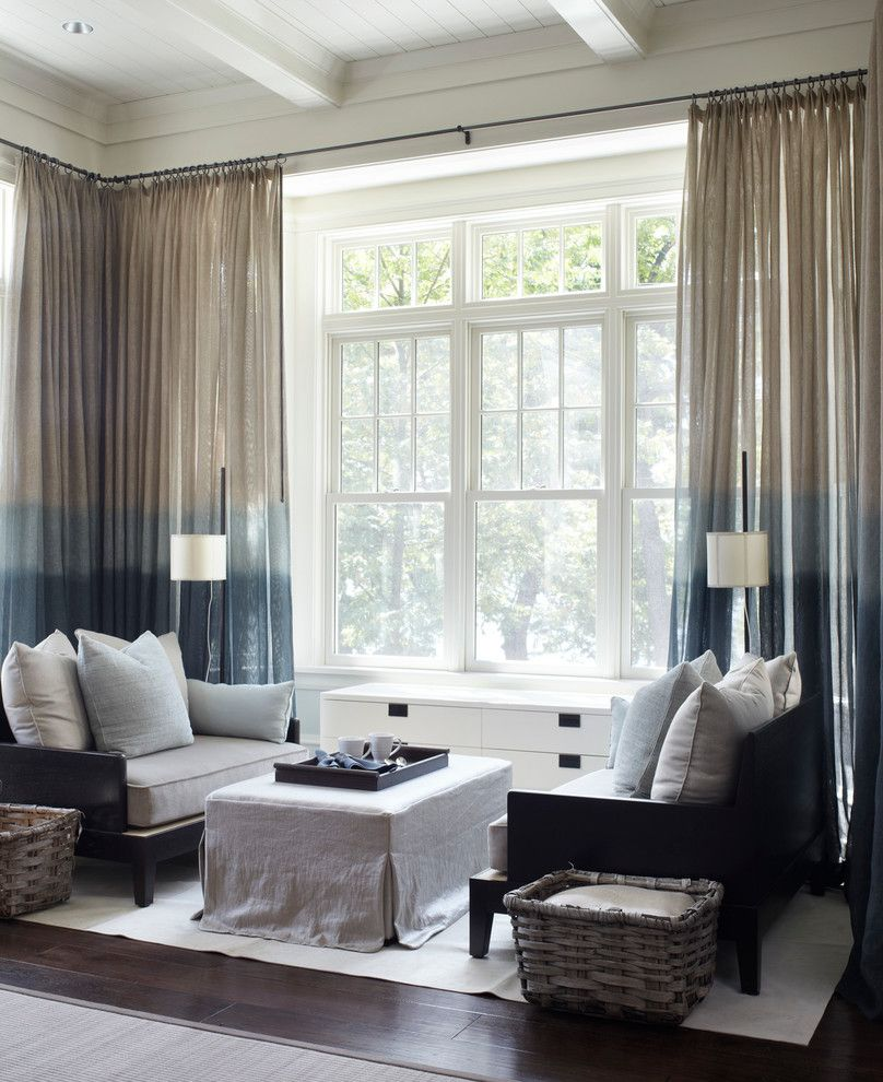 Spas in Lake Geneva Wi   Transitional Living Room  and Blue and White Curtains Coffered Ceiling Dye Curtains Ombre Curtains