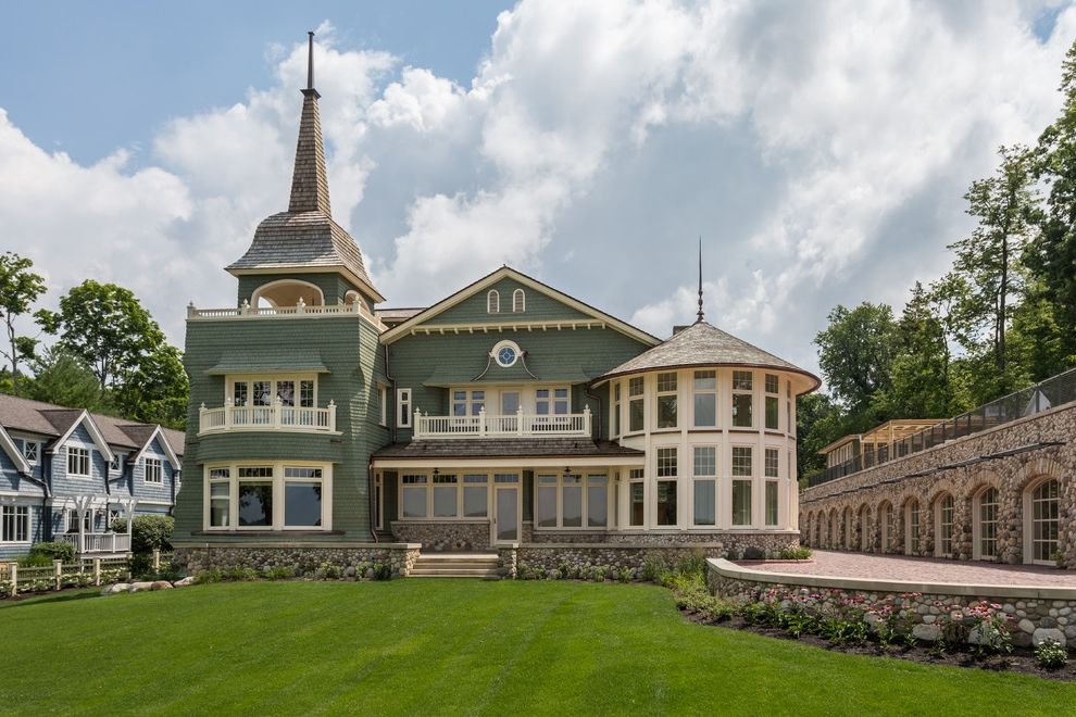 Spas in Lake Geneva Wi   Victorian Exterior Also Balcony Bay Windows Coastal Home Cupolas Roof Turrets Lake Home Lake House Lawn Retainer Walls Shingle Siding Shingle Style Sphere Victorian