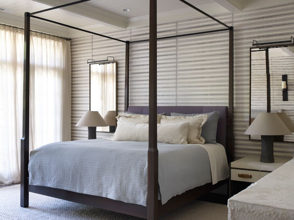 Spas in Lake Geneva Wi with Transitional Bedroom Also Blue Bedding Four Poster Bed Sheer Curtains Striped Wallpaper