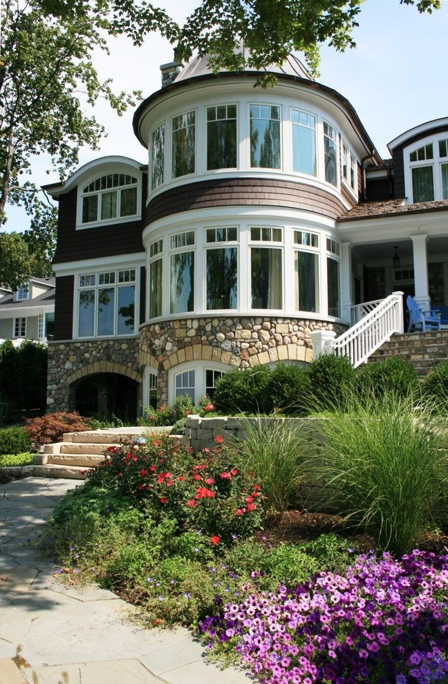 Spas in Lake Geneva Wi with Victorian Exterior Also Copper Dome Curved Windows Front Steps Grasses Lake Geneva Lakefront Path Pavers Planters Shingle Siding Shingle Style Stone Retaining Walls Terraced Turret Walkway