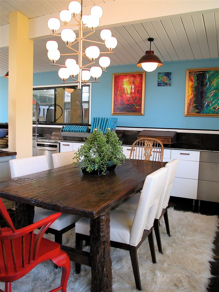 Spas in San Francisco   Contemporary Dining Room Also Artwork Blue Walls Chandelier Dining Area Farm Table Flokati Leather Dining Chairs Pendant Light Rustic Dining Table Tongue and Groove Ceiling Wood Beams