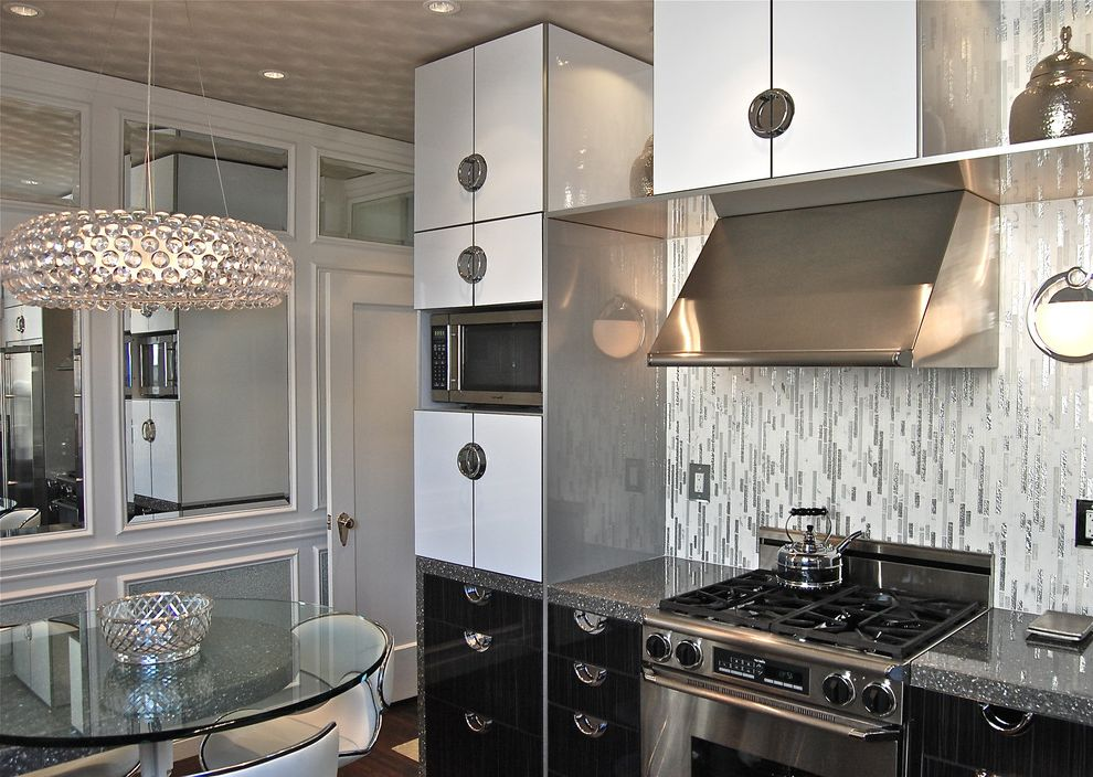 Spas in San Francisco   Contemporary Kitchen  and Glamorous Kitchen High Gloss Cabinets Modern Kitchen Stainless Appliances Tile Backsplash White Kitchen