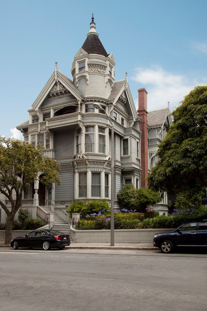 Spas in San Francisco with Victorian Exterior  and Bay Window Brick Chimney Cross Gable Roof Gable Roof Landscaping Shingle Siding Trim Turret Victorian White Trim