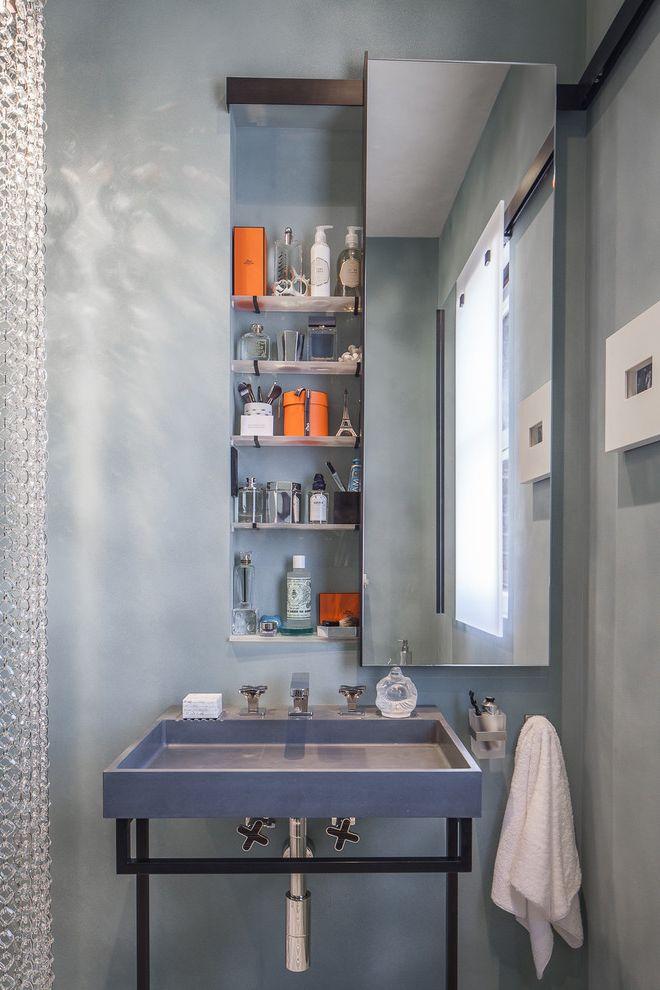 Spazio Braintree Ma   Contemporary Powder Room  and Bathroom Storage Gray Powder Room Grey Powder Room Medicine Cabinet Niche Wall Mirror