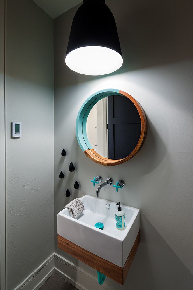 Spazio Braintree Ma with Contemporary Powder Room  and Aqua Black Pendant Light Custom Cabinetry Montana Pop of Color Round Wall Mirror Teal Turquoise