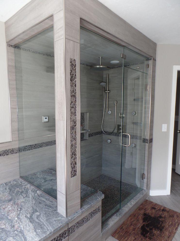 Spazio Braintree Ma with Traditional Bathroom  and Custom Bathroom Glass Porcelain Tile Steam Shower Stone Mosaic