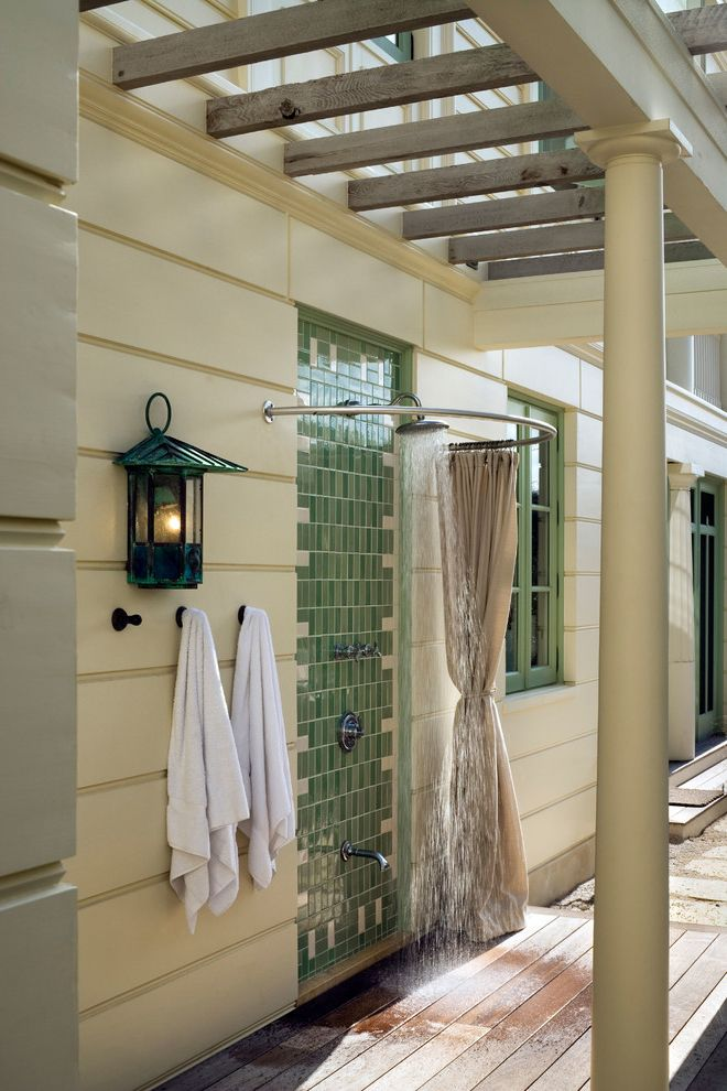 Speakman Outdoor Shower with Beach Style Patio Also Curved Shower Curtain Rod Green Tile Green Trim Outoor Lighting Round Column Wall Sconce Wood Pergola