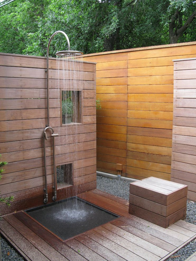 E Speakman Outdoor Shower With Modern Patio Also Deck Fencing Gravel  Window Privacy Screen