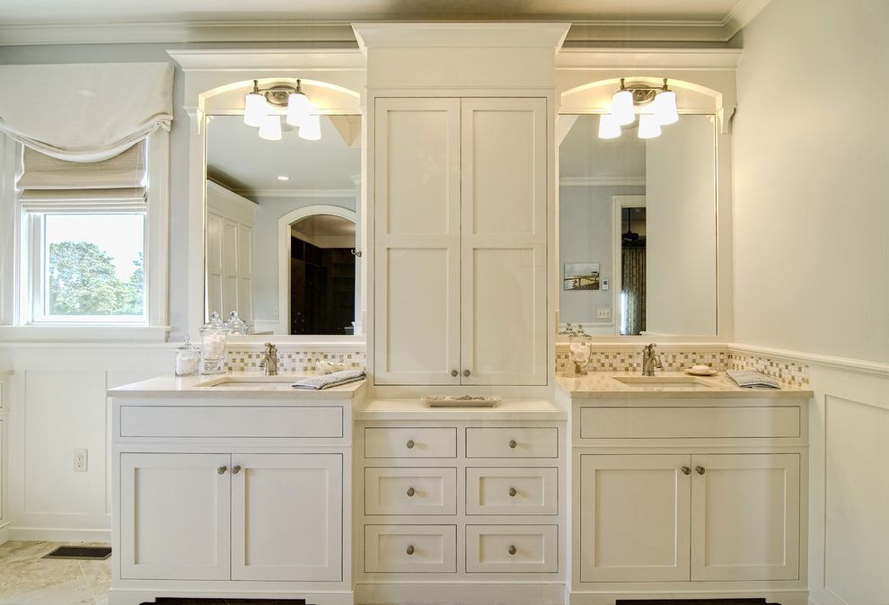 Speed Queen Top Loader   Traditional Bathroom Also Blue Walls Built in Cabinets Custom Cabinetry Master Bath Mosaic Backsplash Organization Panel Molding Relaxed Roman Shade Storage Valance Vanity White Window Treatment