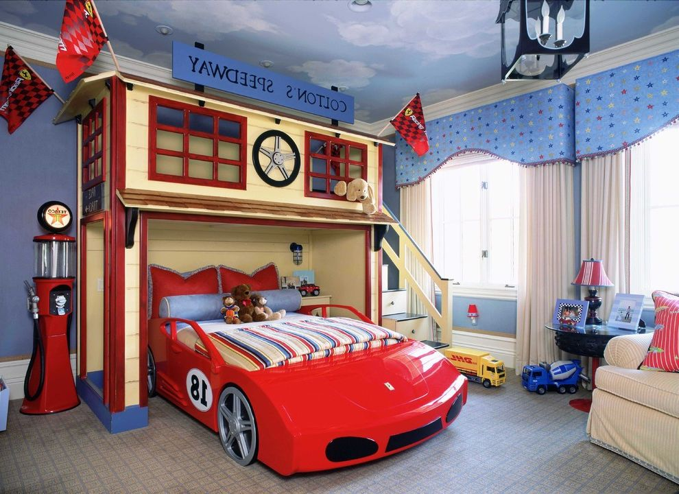 Speed Queen Top Loader   Traditional Kids  and Accent Ceiling Bed Blue Blue Paint Car Carpet Ferrari Window Treatment
