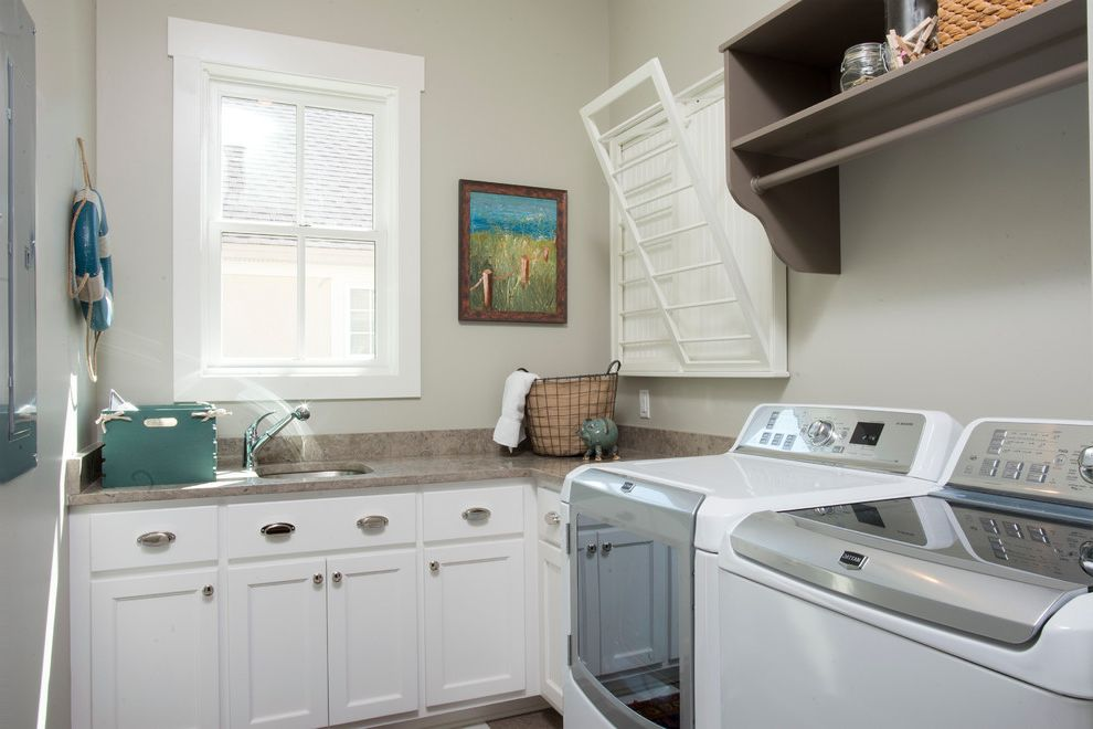 Speed Queen Top Loader with Farmhouse Laundry Room Also Built in Cabinetry Charleston Country Custom Drying Rack Hilton Head Historical Low Country Model Open Regency Savannah Timeless Traditional