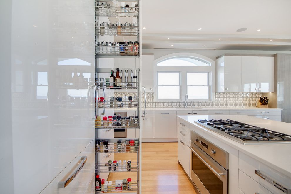 Spice Rack Plano   Contemporary Kitchen Also High Gloss Kitchen Storage Organization Pull Out Slide Out Spice Rack Storage White High Gloss White High Gloss Kitchen White Kitchen White Lacquer