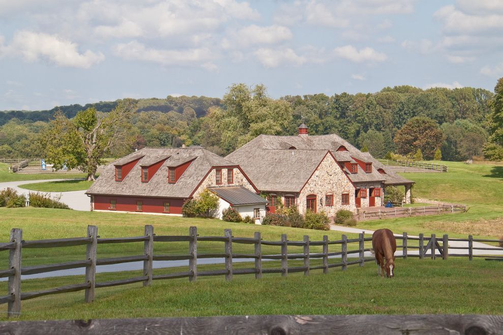 Split Rail Fence Cost   Farmhouse Exterior  and Clipped Gable Roof Cupola Eyebrow Window Forest Landscape Horse Farm Jerkinhead Roof Pastoral Pasture Red Siding Rural Landscape Shed Dormer Windows Split Rail Fence Wood Fence
