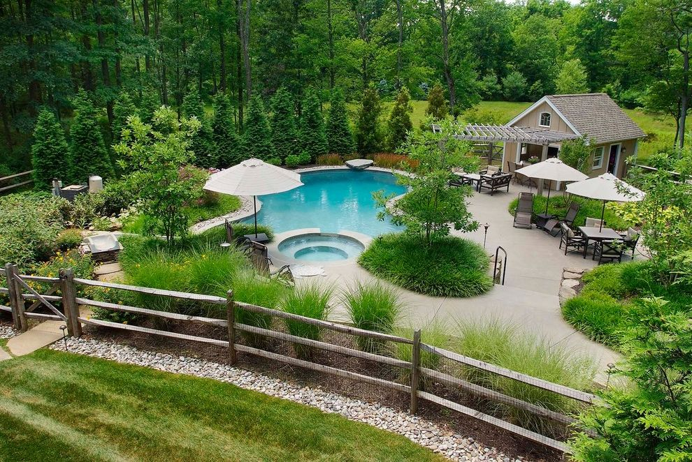 Split Rail Fence Cost   Traditional Pool Also Berm Curved Pool Grass Gravel Hot Tub Lawn Ornamental Grasses Outdoor Dining Patio Umbrella Pergola Pine Trees Pool Deck Pool House Snack Counter Woods