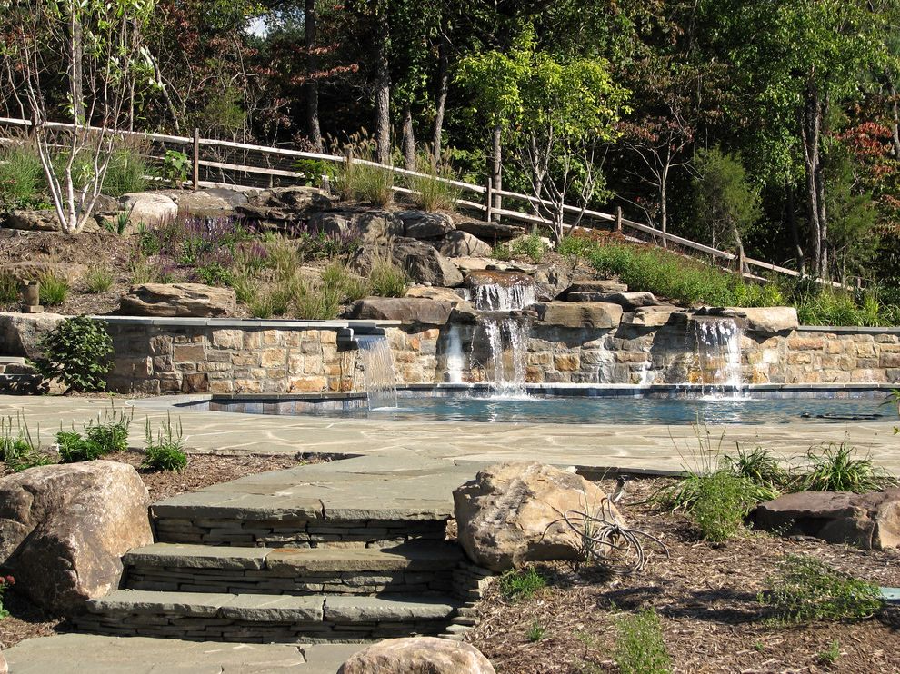 Split Rail Fence Cost with Traditional Pool  and Boulders Cedar Curved Pergola Country Side Fountain Hillside Lake Pavers Planters Pool Rocks Slope Split Rail Fence Stone Retaining Wall Stream Waterfall