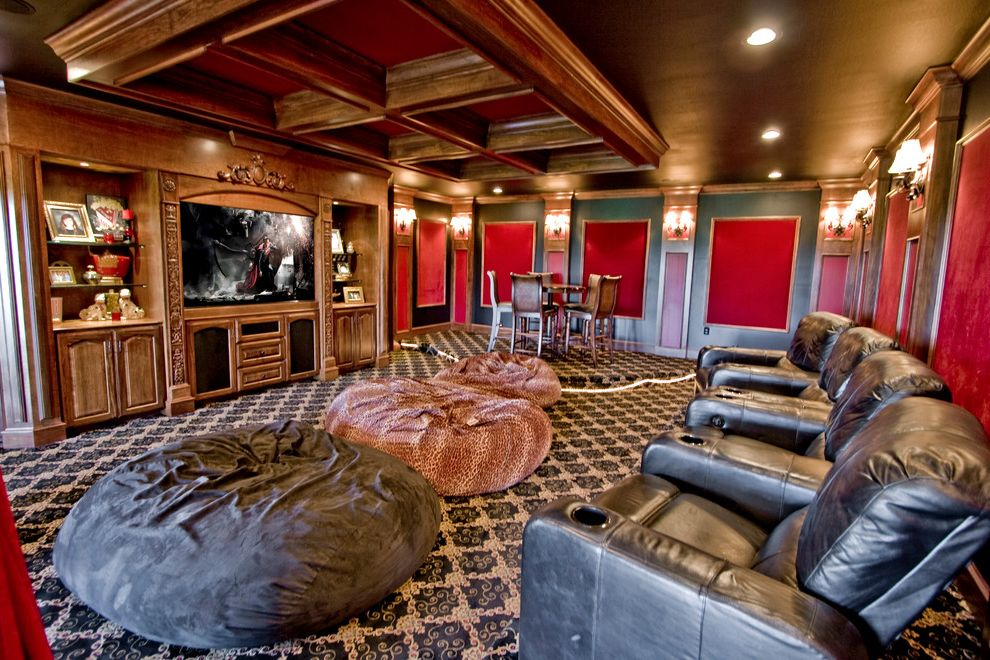Spokane Valley Theater   Traditional Home Theater Also Bean Bags Carpet Coffered Ceiling Leather Movie Chairs