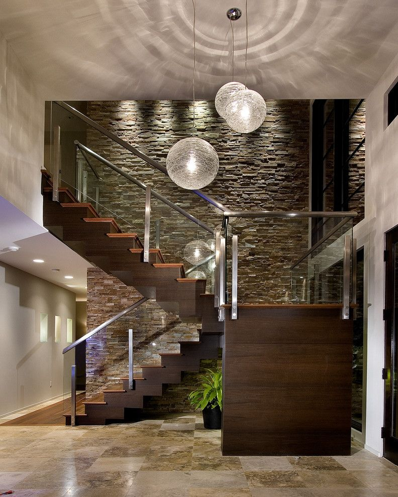 Springfield Mo Photographers   Contemporary Entry Also Dark Wood Staircase Floor to Ceiling Windows Glass Stair Railing Globe Pendant Light Potted Plant Recessed Lighting Silver Stair Railing Stone Wall Tile Floor White Wall