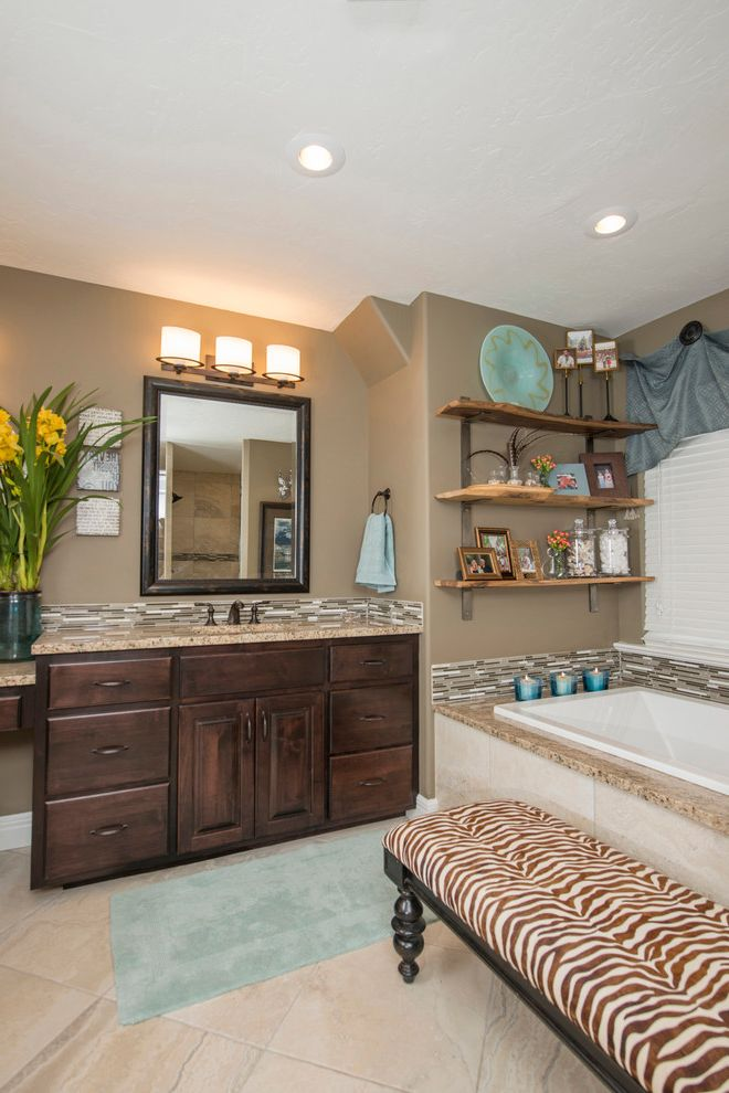 Springfield Mo Photographers with Traditional Bathroom  and Beige Countertop Beige Floor Tile Blue Accents Blue Bath Mat Framed Mirror Open Shelves Triple Wall Sconce Zebra Print Bench