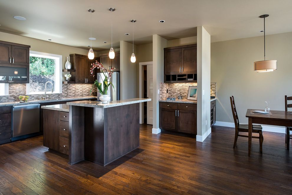 Ss Hardwood With Contemporary Kitchen And Baseboard Dark Hardwood - Glass pendants kitchen island
